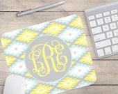 Azteken Maus-Pad, gelb und blau Azteken Maus-Pad, personalisierte Maus-Pad, benutzerdefinierte Maus-Pad, Monogramm-Maus-Pad (0067)