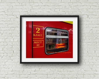Russia Travel Art, Moscow Print, Red Train Photo, Russia Travel Photography, Red Train Photograph, Travel Decor,  Print, Art & Collectibles