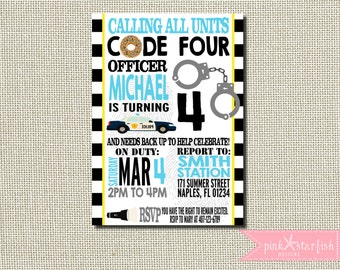 Police Birthday Party, Cops and Robbers Birthday Invitation, Police Birthday Invitation, Cops and Robbers Party, Police Birthday Party