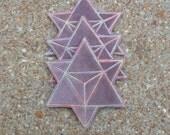 Sacred Geometry Patch, Merkaba Star, Velvet with Pastel Rainbow, Iron On, Handmade with Love
