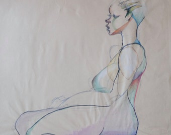 Original Life Drawing 12, Pencil, Nude Sketch, Water color, Dessin, Woman, Art, Simple, Abstract, Kunst, Modern, large, Sitting, Colour