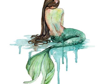 "Watercolor Mermaid Painting - Print titled, ""The Mermaid"", Beach Decor, Mermaid Tail, Mermaid Print, Mermaid Wall Art, Mermaid Painting, Sea"