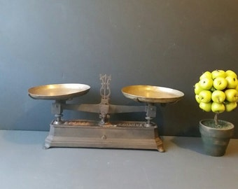 Industrial Balance scale. Made in France. Original. Farmhouse decor.