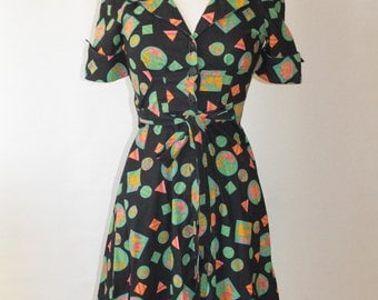 "70s Abstract pattern Shirt Dress, ""Poppy"""