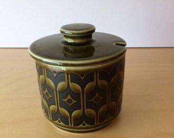 SALE- Vintage Hornsea Pottery- Green Heirloom Sugar Bowl- 1970's