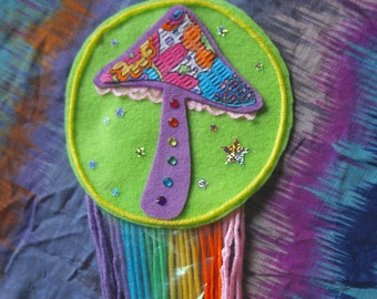 Mushroom Felt Wall~Hanging Decor w/ Rainbow Yarn