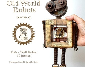 Found Object Robot, Robot Sculpture Art, Retro Styled Robot Art, Techie gift for him, Robotics Gift, Graduation Gift,  Robin Davis Studio