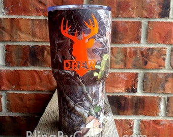 Camo RTIC, 30 oz, Custom Camo Cup, Gift for Dad, Hunting Gift, Personalized Camo, Monogram for him, Gift for Papa, RTIC Cup, Hydro-Dipped