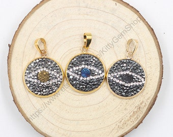 Druzy Evil Eye Pendants -- With CZ Rhinestone Zircon Diamonds Charms Wholesale Supplies YHA-015