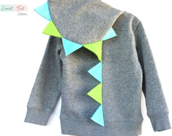 Size 5 Gray Dinosaur Hoodie with Aqua & Green Spikes
