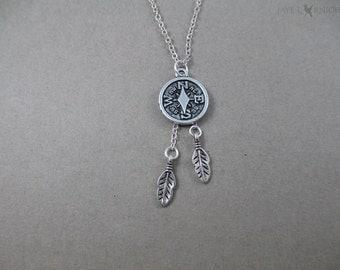Compass Feathers Charm Necklace - Silver