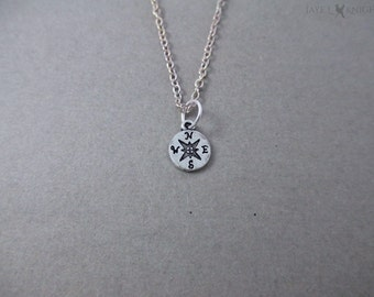 Compass Charm Necklace - Silver - Pirates of the Caribbean - Jack Sparrow