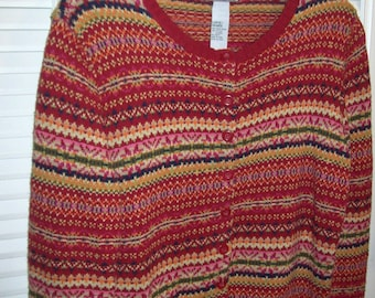 Sweater, XL ,  Fair Isle Outstanding Cardigan Sweater Size XL by Tiara see details