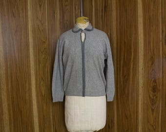 50s Grey Sweater   50s Sweater   1950s Sweater   50s Cashmere Sweater   Gray Cashmere Sweater   Keyhole Sweater   Gray Cashmere   50s Jumper