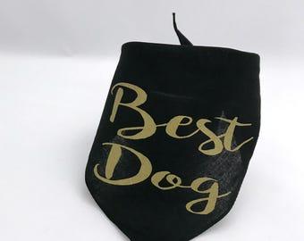 Best Dog Gold Wedding Pet Bandana for Engagement Photos Save the Date Bridal Shower Gift