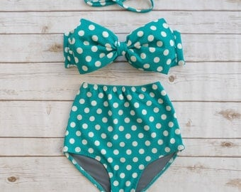 High Waist Retro Bow Bikini - Vintage Style Bathing Suit Swimwear - Seafoam Teal White Polka Dot Spotted Print Glamorous Pinup Swimsuit