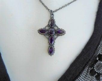 Amethyst cross, amethyst necklace, rosary necklace, amethyst pendant,purple amethyst jewelry, cross pendant, gemstone cross, gothic cross