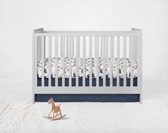 Straight Crib Skirt - Linen Cotton - Navy. Baby Bedding. Crib Bedding. Crib Skirt. Navy Crib Skirt. Blue Crib Skirt. Flat Crib Skirt.