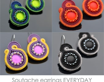Soutache earrings EVERYDAY: instant download PDF tutorial for soutache beginners
