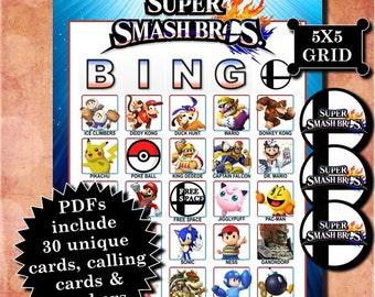Nintendo Super Smash Bros. 5x5 Bingo printable PDFs contain everything you need to play Bingo.