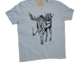 Funny Mens TShirt - Funny Mens Tee - V Neck TShirt - Moose TShirt - Cool TShirts - Mens Tees - Boyfriend Gift Idea - Funny Tshirt for Men