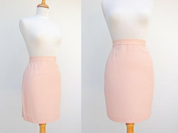 vintage pastel pink pencil skirt high waisted midi midi