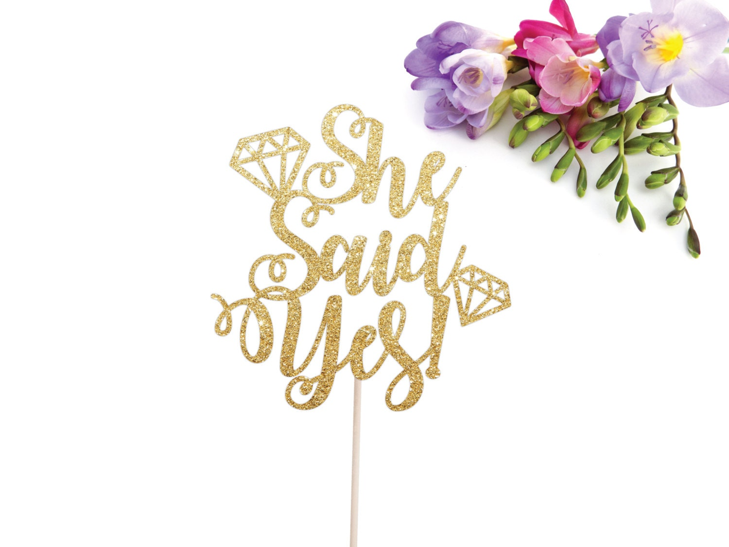 she said yes cake topper bridal shower cake topper