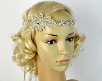Long Bridal Headband Crystal  Rhinestone  Wedding Headband Headpiece, Halo Bridal Flapper 1920s Great Gatsby Headband Headpiece