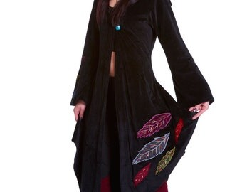 PAGAN GODDESS COAT, long velvet boho jacket, medieval renaissance clothing, cosplay festival clothing, witch coat, gothic goth pixie coat