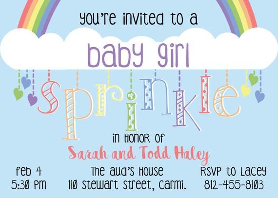 Rainbow Themed Sprinkle or Baby Shower Invitation (DIGITAL COPY)