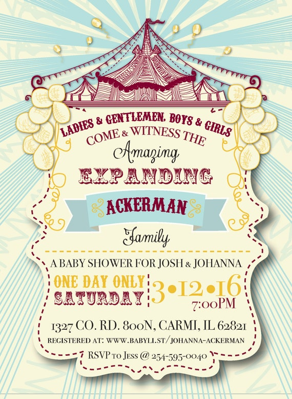 Circus Themed Baby Couple Shower Invitation & Party Package