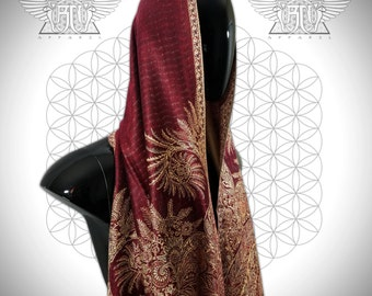 NEW // Spiral Series // Festival Shawl/Scarf // Burgundy/Red/Gold/Tan // Unisex