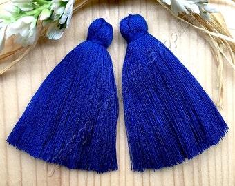 2pcs Large Handmade Cotton Tassel, 2'' Saxe Blue Long Earring Tassel, Mala Necklace, Bohemian Tassel, Fashion Jewelry Making Supply, #38