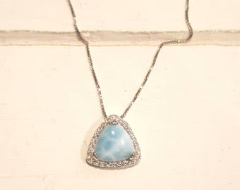 Triangle Larimar Necklace with cz Halo 925 Sterling Silver  - Dominican Larimar - Calming Stone