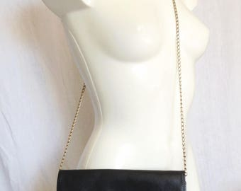 Bag / Bag pouch, black leather, Pourchet.