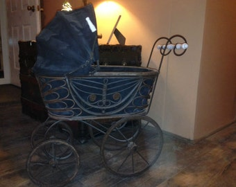 Vintage Baby Doll Carriage Stroller Antique Victorian Buggy LARGE 30x28x12 Photography Photo Prop or Store Display