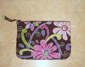 Vera Bradley Purple Punch Brown Pink Cosmetic Make Up Bag
