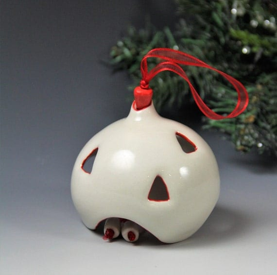 Ornament // Christmas tree ornament // Christmas tree ball // Hand made ceramic ornament // white and red porcelain ornament