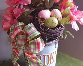 Rhododendron, Flowering Bush, Birds Nest and Eggs, Garden Planter, Silk Flower Arrangement, Faux Flowers, Home Decor, Spring Flowers