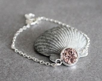 Rose Gold Druzy Bracelet, Rose Gold Bracelet, Rose Gold Bridesmaid Jewelry, Faux Druzy Bracelet, Rose Gold Bangle, Dainty Bracelet