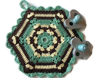 Vintage Style Potholder, Hexagon PotHolder Double-sided Trivet from Vintage Pattern, Kitchen Decor, A Loop for Hanging - Gift for Her
