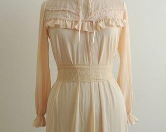 Ruffled peach satin gown dress