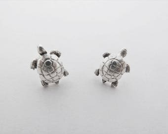 Tiny Silver Turtle or Tortoise Vintage Ear Studs