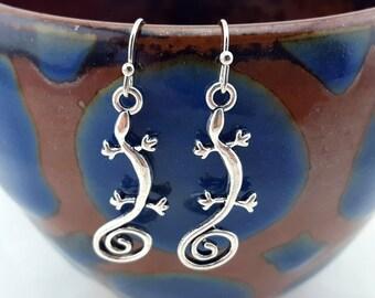 silver lizard earrings - gecko earrings - lizard jewelry - amphibian jewelry - cute lizards - handmade earrings - little lizard earrings