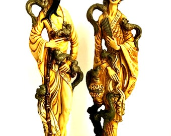 Chinese Statues Male and Female Couple Asian Figurines Heavy 19 inches Tall