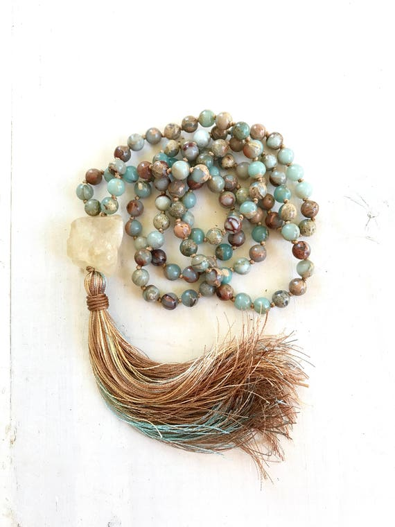 Citrine Mala Beads For Mental and Physical Energy, African Opal Mala Necklace, 108 Bead Mala Necklace, Raw Citrine Guru Bead, Hand Knotted