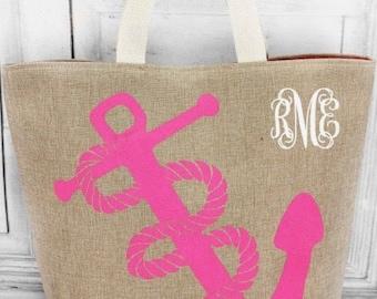 Fuchsia Anchor Beach Bag