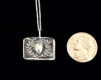 Fine Silver Heart in a Wreath Pendant | Precious Metal Clay