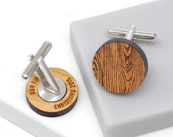 Secret Message Cufflinks, Custom Cufflinks, Personalized Message Cufflinks, 5th Anniversary Gift, Woodgrain Secret Message Cufflinks