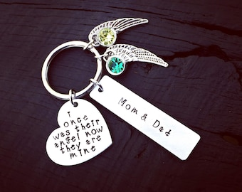 I Once Was Their Angel, Now They Are Mine Memorial Key Chain | Loss of Parents Memorial Gift | Mom & Dad Memorial Keepsake | Sympathy Gift
